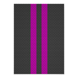 Fuchsia Pink Racing Stripes in Carbon Fiber Style Card