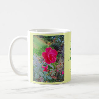 Fuchsia Pink Rose Flower in Bloom with Water Dew Coffee Mug