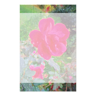 Fuchsia Pink Rose Flower in Bloom with Water Dew Customized Stationery