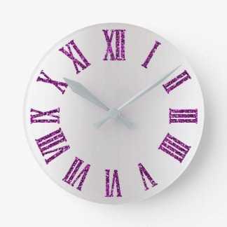 Fuchsia Pink Rose Gray Silver Ombre Minimal Black Round Clock