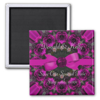 Fuchsia Pink Roses Mandala Wedding Refrigerator Magnet