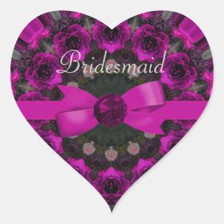Fuchsia Pink Roses Mandala Wedding Sticker