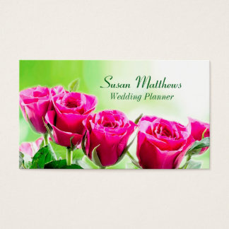Fuchsia Pink Roses on a Light Green Background Business Card