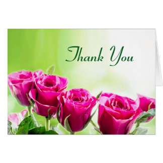 Fuchsia Pink Roses on a Light Green Background Card