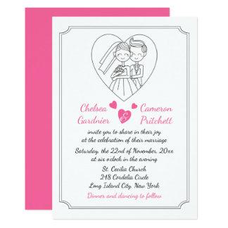 Fuchsia Pink & White Cartoon Bride & Groom Wedding 13 Cm X 18 Cm Invitation Card