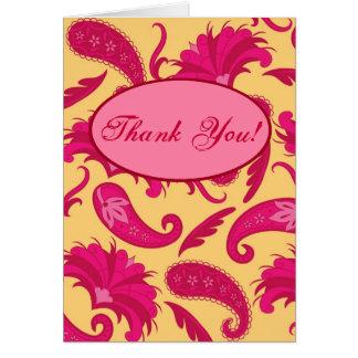 Fuchsia Pink Yellow Paisley Custom Greeting Card