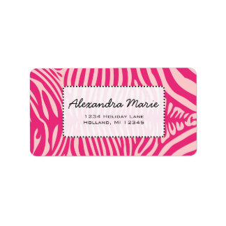 Fuchsia & Pink Zebra Skin Change Background Color Address Label