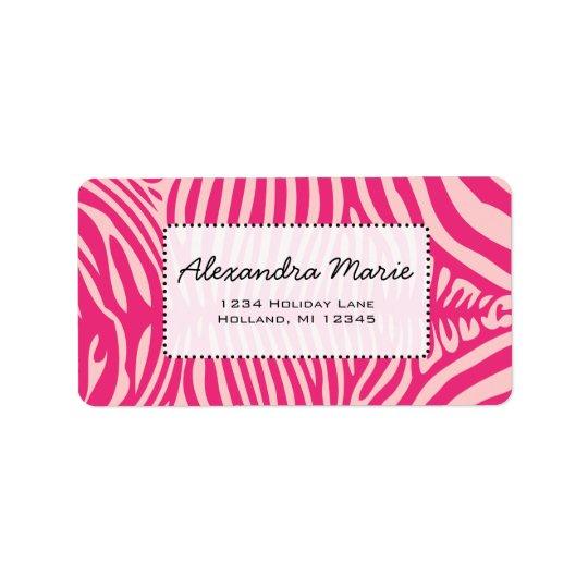 Fuchsia & Pink Zebra Skin Change Background Colour Address Label