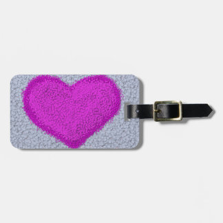 Fuchsia Polka-Dot Heart Luggage Tag