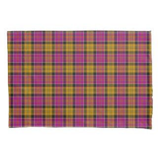 Fuchsia Purple and Gold Culloden Scottish Tartan Pillowcase