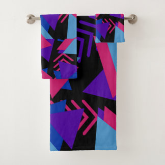 Fuchsia Purple Blue Geometric Bathroom Towel Set