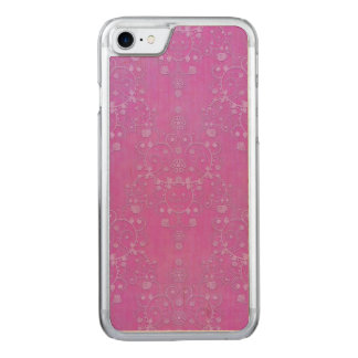 Fuchsia Purple Damask Intricate Floral Pattern Carved iPhone 7 Case