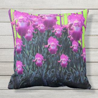 Fuchsia Purple Iris Chartreuse Stripe Pattern Throw Pillow