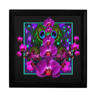 Fuchsia Purple Orchids Green-black Design gifts Large Square Gift Box