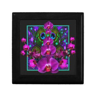 Fuchsia Purple Orchids Green-black Design gifts Small Square Gift Box