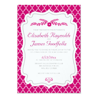 Fuchsia Quatrefoil Wedding Invitations