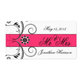 Fuchsia Ribbon Wedding Mr Mrs Water Bottle Labels