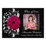 Fuchsia Scroll Gerbera Daisy Graduation Personalized Invite
