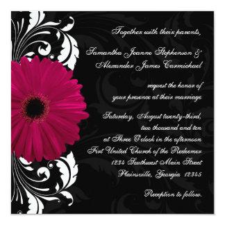 Fuchsia Scroll Gerbera Daisy w/Black and White 13 Cm X 13 Cm Square Invitation Card