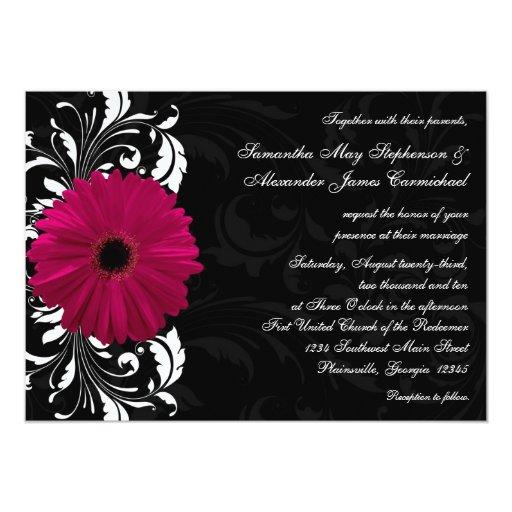 Fuchsia Scroll Gerbera Daisy w/Black and White 13 Cm X 18 Cm Invitation Card