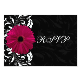 Fuchsia Scroll Gerbera Daisy w/Black and White Card