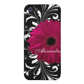 Fuchsia Scroll Gerbera Daisy w/Black and White Cover For iPhone 5/5S