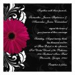 Fuchsia Scroll Gerbera Daisy w/Black and White Invites