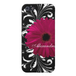 Fuchsia Scroll Gerbera Daisy w/Black and White iPhone 5 Covers