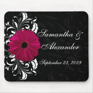Fuchsia Scroll Gerbera Daisy w/Black and White Mouse Pad