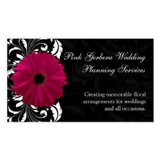 Fuchsia Scroll Gerbera Daisy w/Black and White Pack Of Standard Business Cards