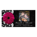 Fuchsia Scroll Gerbera Daisy w/Black and White Photo Cards