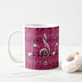 Fuchsia Sheet Music Silver Music Notes Coffee Mug