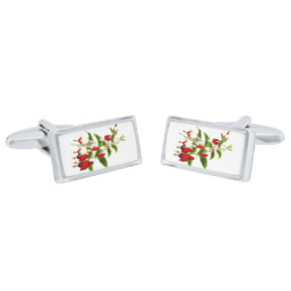 Fuchsia Silver Finish Cufflinks