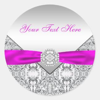 Fuchsia Silver Lace Diamond Bow Stickers