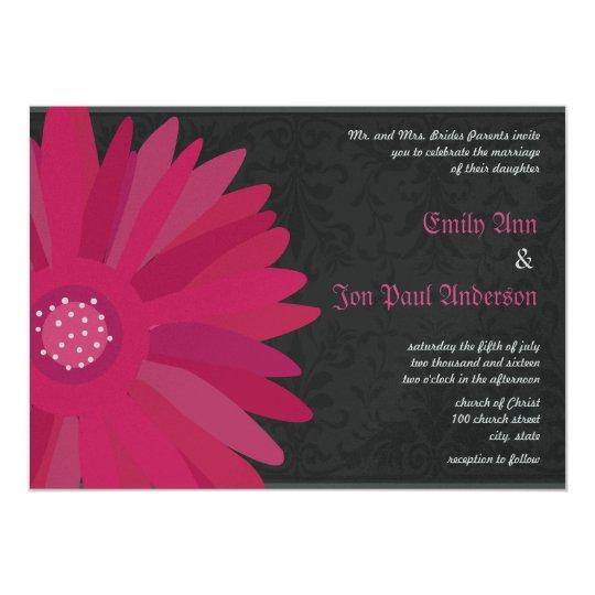 Fuchsia Silver Metallic Gerber Daisy Wedding 13 Cm X 18 Cm Invitation Card