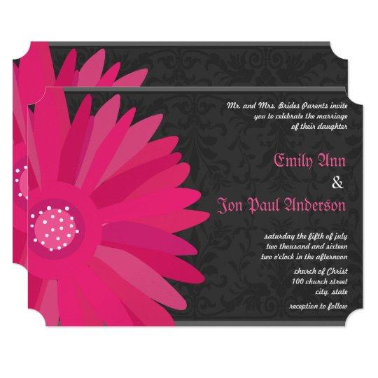 Fuchsia Silver Metallic Gerber Daisy Wedding Card