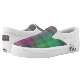 Fuchsia/Teal/Purple Plaid Slip On Sneakers