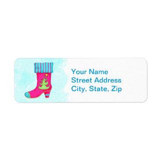 Fuchsia Turquoise Merry Christmas Boot Stocking Return Address Label