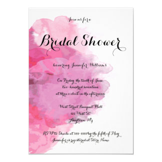 Fuchsia watercolor bridal shower invitations