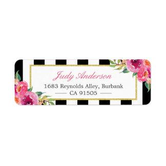 Fuchsia Watercolor Floral | Modern Purple Red Pink Return Address Label