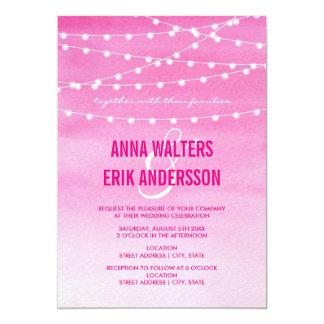 Fuchsia Watercolor String Lights 13 Cm X 18 Cm Invitation Card
