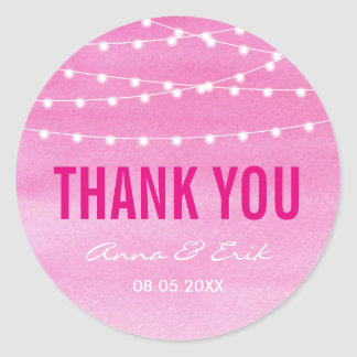 Fuchsia Watercolor String Lights Round Sticker