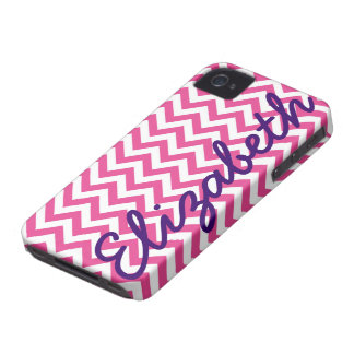 Fuchsia White Chevron Pattern iPhone 4 Case-Mate Cases