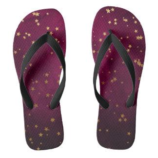 Fuchsia with Golden Stars Thongs