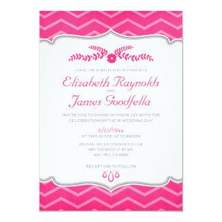 Fuchsia Zigzag Wedding Invitations