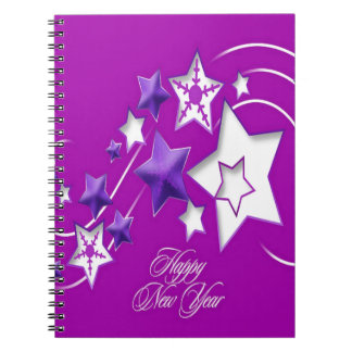 Fucshia and Purple Happy New Year Shooting Stars Notebook