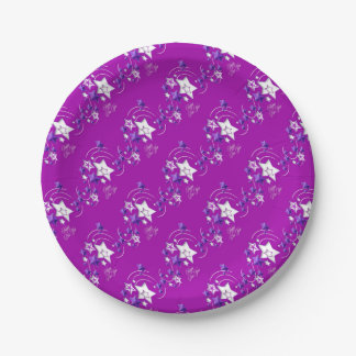 Fucshia and Purple Happy New Year Shooting Stars Paper Plate