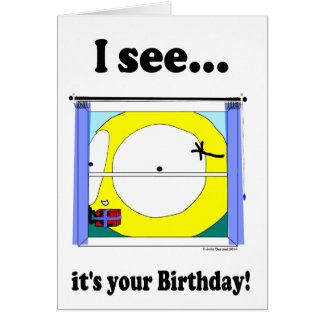 """""""Fudsy Faces""""-Greeting-""""I see it's your Birthday!"""" Card"""