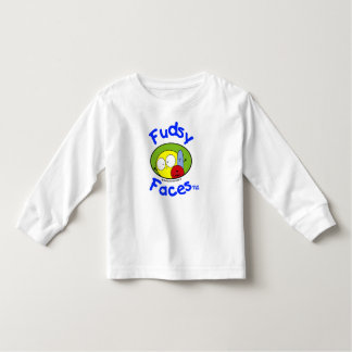 """Fudsy Faces""-Logo,Toddler, Long Sleeve, White T Shirt"