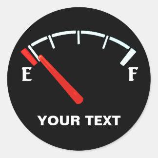 Fuel Gauge Gas Tank Full/Empty (personalized) Round Sticker